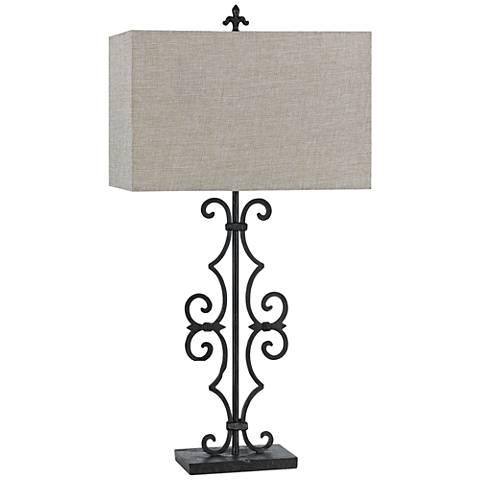 Soria Blacksmith Metal Table Lamp with Hardback Burlap Shade