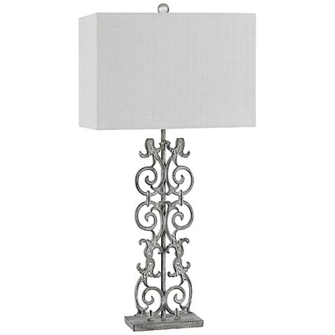 Vitoria Distressed White Metal Table Lamp