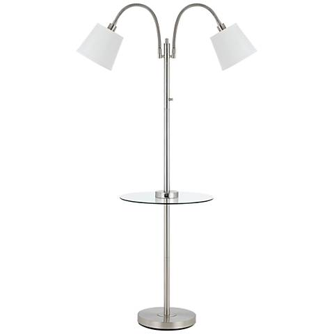 Gail Brushed Steel Double Gooseneck Floor Lamp w/ Tray Table