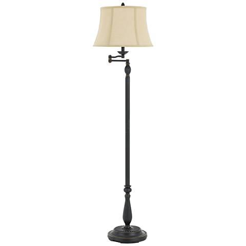Barnwell Dark Bronze Metal Swing Arm Floor Lamp