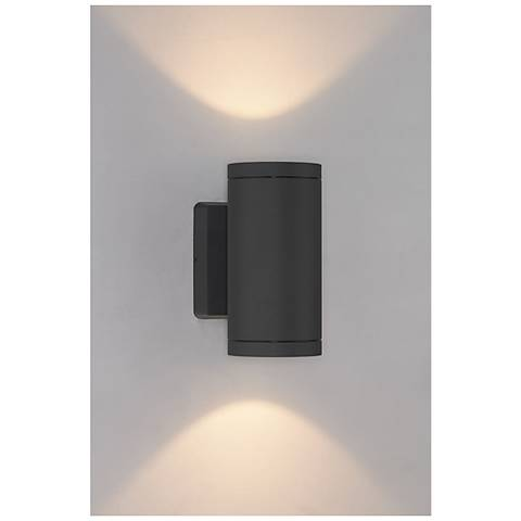 "Bruck Cylinder 8"" High Anthracite LED Outdoor Wall Light"