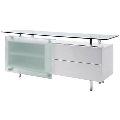 Ema Clear Glass Top High Gloss White Wood 1-Door Buffet Cabinet