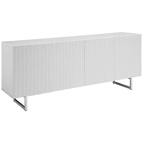Wally High Gloss White Wood 4-Door Buffet Cabinet