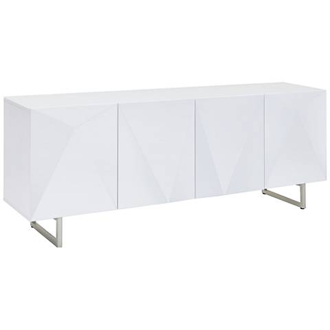 Paul White Glass Top High Gloss White Wood 4-Door Buffet Cabinet