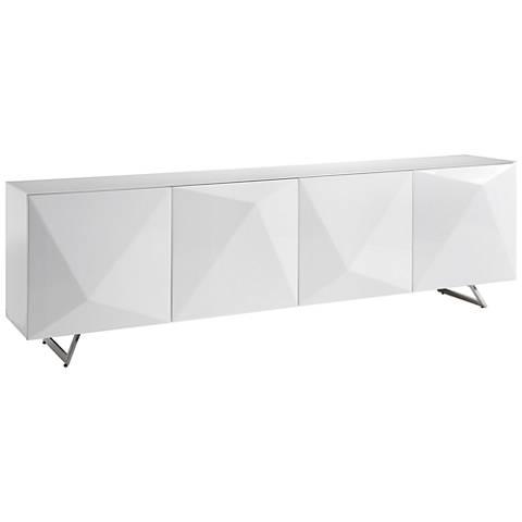 Samantha White Glass Top Gloss White Wood 4-Door Buffet Cabinet