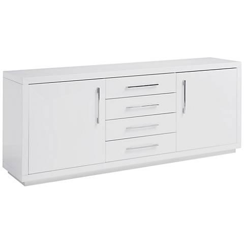 Montgomery High Gloss White Wood 2-Door Buffet Cabinet