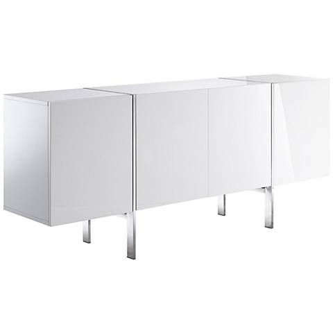 Struttura Small High Gloss White 4-Door Wood Buffet Cabinet