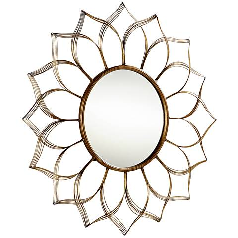 "Blooming Beauty Aged Gold 10 1/4"" Round Wall Mirror"