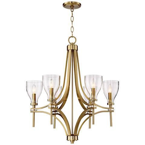 """Hex 26 1/2"""" Wide Warm Antique Brass 6-Light Chandelier"""