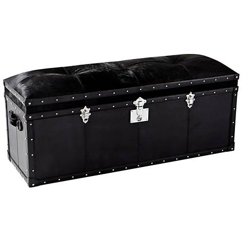 Cyan Design Casselton Black Leather Tufted Trunk