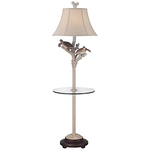 Turtle Antique Night Light Floor Lamp with Glass Tray