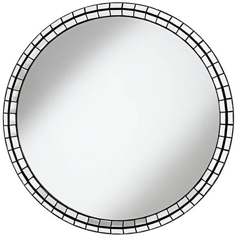 "Rivera Silver Tiles 39"" Round 3 D Wall Mirror"