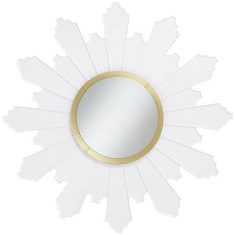 "Apollina Gold and Acrylic 39"" Round Sunburst Wall Mirror"