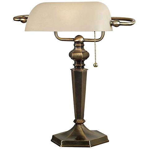 Kenroy Home Mackinley Golden Bronze Banker Desk Lamp