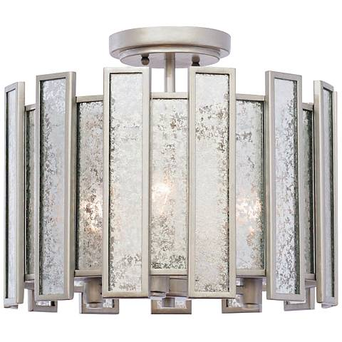 "Palisade 26"" Wide Tarnished Silver Ceiling Light"