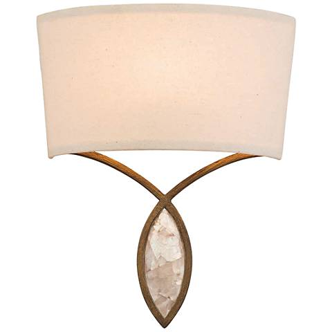 """Sayville 12"""" High Distressed Gold Wall Sconce"""