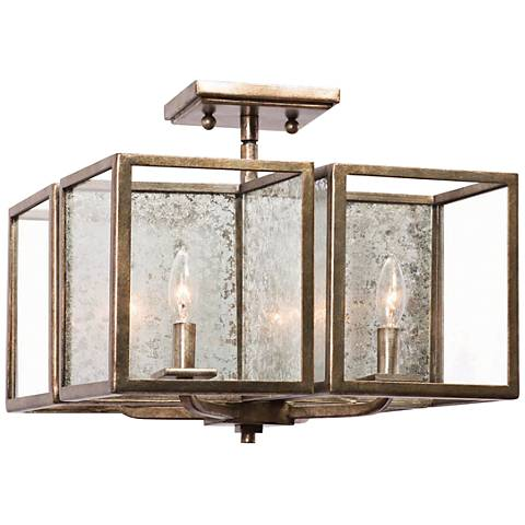 "Camilla 16"" Wide Rustic Silver Leaf 4-Light Ceiling Light"