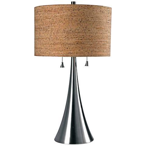 Kenroy Home Bulletin Brushed Steel Table Lamp