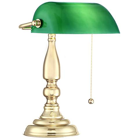 Hammond Green Glass Brass Finish Bankers Desk Lamp