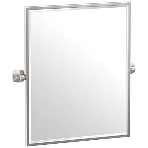 "Gatco Jewel Satin Nickel 24 1/2"" x 25"" Framed Wall Mirror"