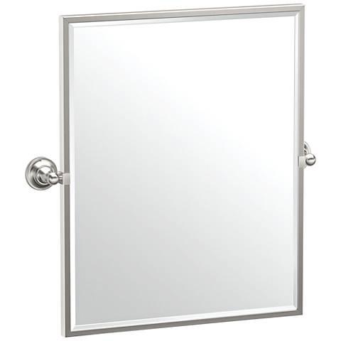 "Gatco Tiara Satin Nickel 24 1/4"" x 25"" Framed Wall Mirror"