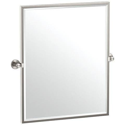 "Gatco Channel Satin Nickel 23 3/4"" x 25"" Framed Wall Mirror"