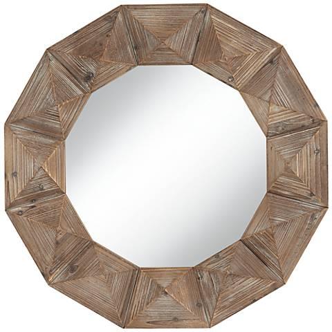 "Dyan Geometric Cut Distressed Wood 31 1/2"" Round Wall Mirror"