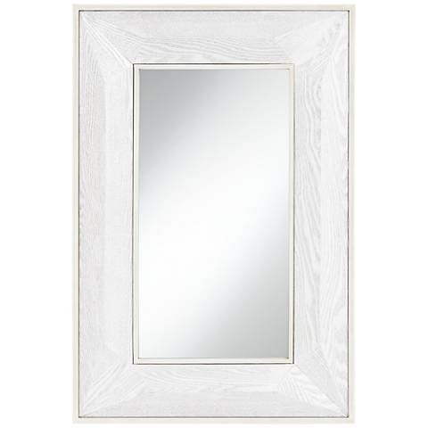 "Keily Geometric Cut White Wash 24 3/4"" x 36 3/4"" Wall Mirror"