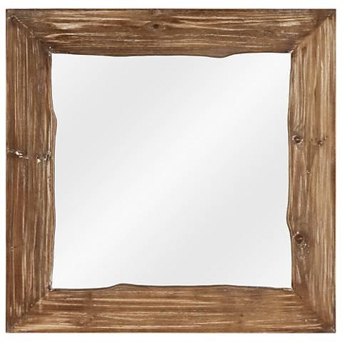 "Carson Distressed Pine 30"" Square Wall Mirror"