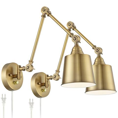 Mendes Antique Brass Down-Light Plug-In Wall Lamp Set of 2