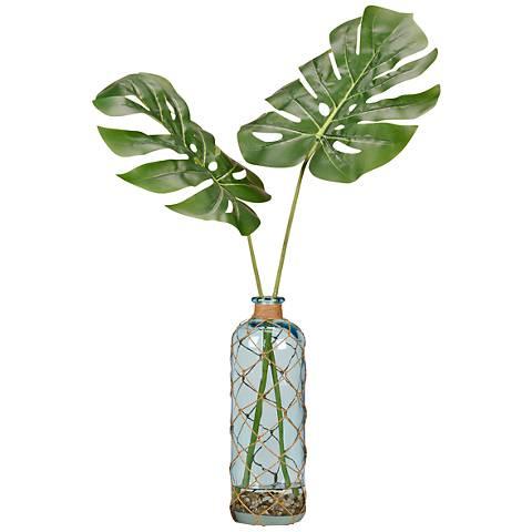 "Split Leaf Philos 34""H Faux Plant in Glass Bottle Vase"