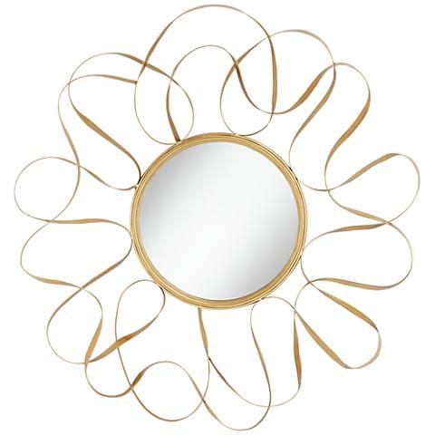 "Serra Gold Waves 34 1/2"" Round Oversize Metal Wall Mirror"