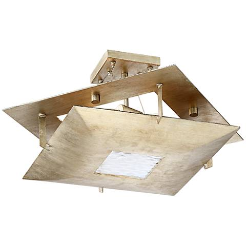 "Possini Euro Squared Up 21 1/2""W Silver Leaf Ceiling Light"