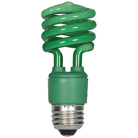 Satco Green 13 Watt Spiral Fluorescent Party Light Bulb