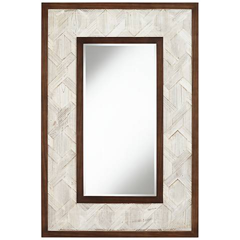 """Kit Gray and Brown Trim 31 1/2"""" x 47 1/4"""" Wall Mirror"""