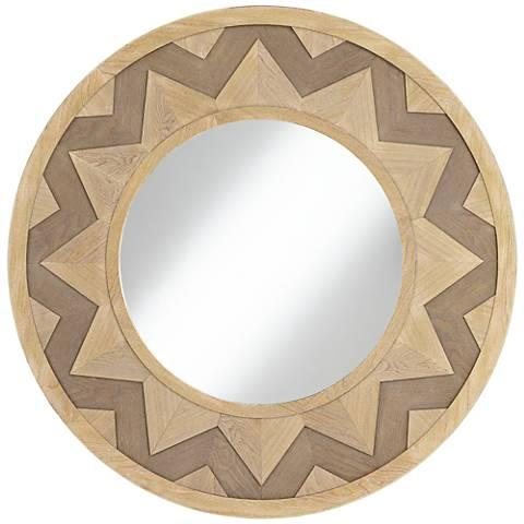 """Sol Two-Tone Chevron 39 1/4"""" Round Wall Mirror"""