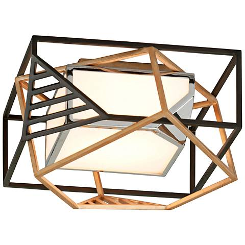 "Cubist 17 1/2"" Wide Bronze and Gold Leaf LED Ceiling Light"