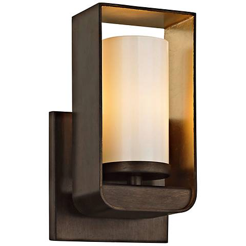 "Escape 7 3/4"" High Bronze and Gold Leaf LED Wall Sconce"
