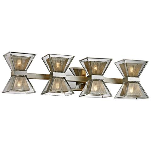 "Expression 27 1/2"" Wide Silver Leaf 8-Light LED Bath Light"