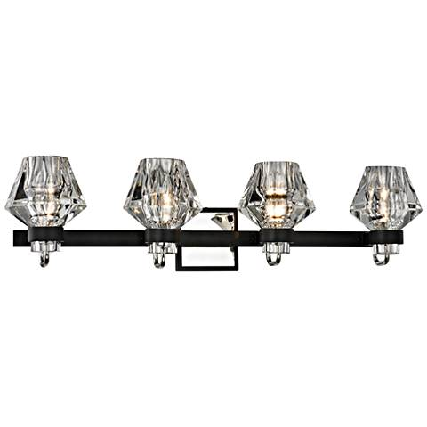 "Faction 3 1/2""W Iron and Polished Nickel 4-Light Bath Light"