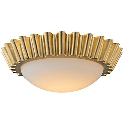 "Reese 15 1/2"" Wide Gold Leaf LED Ceiling Light"