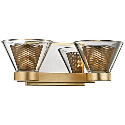 """Wink 4 1/2""""H Gold Leaf and Chrome 2-Light LED Wall Sconce"""
