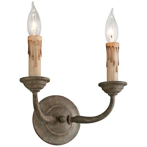 "Cyrano 13 1/4"" High Earthen Bronze 2-Light Wall Sconce"