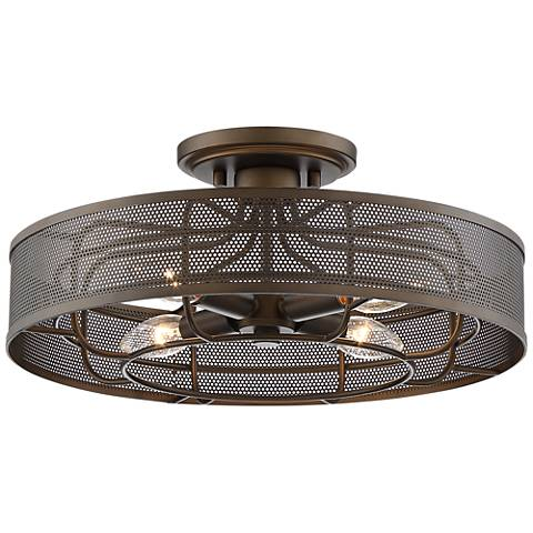 """Nevin 15"""" Wide Oil Rubbed Bronze Metal Outdoor Ceiling Light"""