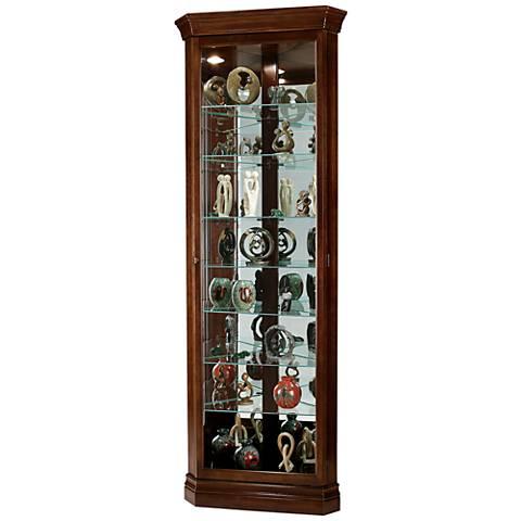Drake Cherry Bordeaux 1-Door Corner Curio Cabinet