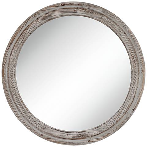"""Connor Gray Washed 28"""" Round Wall Mirror"""