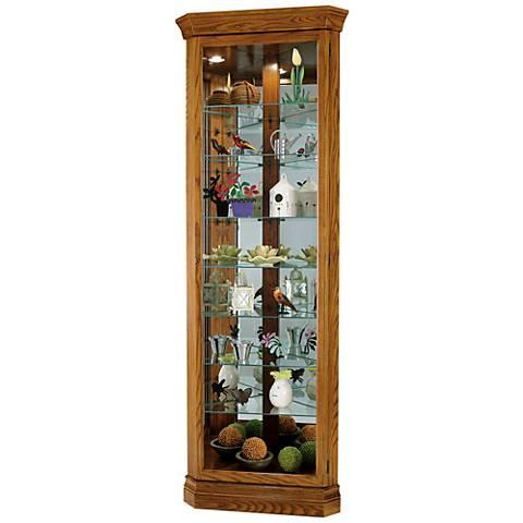 Howard Miller Dominic Legacy Oak 1-Door Corner Curio Cabinet