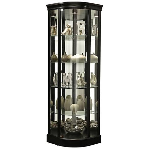 Marlowe II Black Satin Wood 1-Door Curio Cabinet