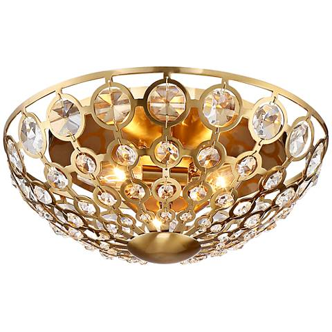 "Possini Euro Calla 13 3/4""W Warm Brass 3-Light Ceiling Light"