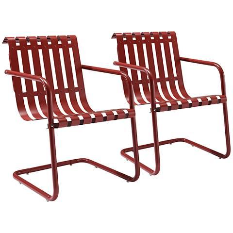 Gracie Red Steel Indoor-Outdoor Armchair Set of 2